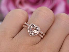 Love 8mm Heart-Shaped Morganite & Dia Promise Bridal Ring Set 14k Rose G... - $79.13