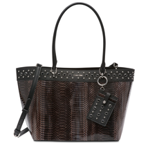 Calvin Klein Embellished Susan Python Tote W/ Card Case, Dark Taupe $248 - $133.87