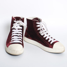 PRADA Purple Velvet High Top Sneakers Lace Up Trainers Athletic Shoes Sz... - $443.81