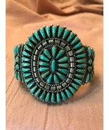 Native American Sterling Silver Turquoise Petit Point Bracelet Singed EB 1970's - $712.45