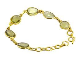 fine-looking Lemon Quartz Gold Plated Yellow Bracelet genuine jewellery US gift - $18.80