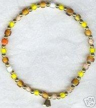 Yellow Gold Browns Beaded Bell Pet Collar - $8.99