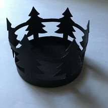 """HOLIDAY TIME* 3.5"""" diam. CANDLE HOLDER Christmas RUSTIC Black Metal TREE... - $8.99"""
