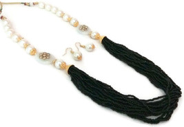 Indian Bollywoo GoldPlated White Black Beads Kundan Necklace Earring Jewelry Set - $14.24