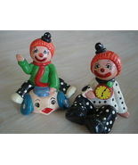 Vintage Enesco Circus Clown Figurines, Ceramic, Painted Colors - $12.99