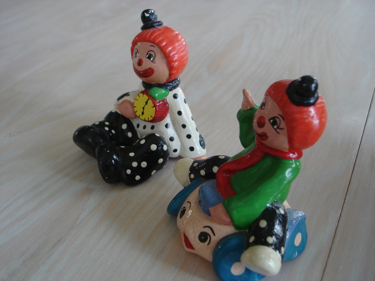 Vintage Enesco Circus Clown Figurines, Ceramic, Painted Colors
