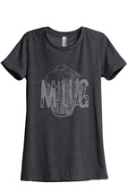 Thread Tank Mug Glass Sketch Women's Relaxed T-Shirt Tee Charcoal Grey - $24.99+