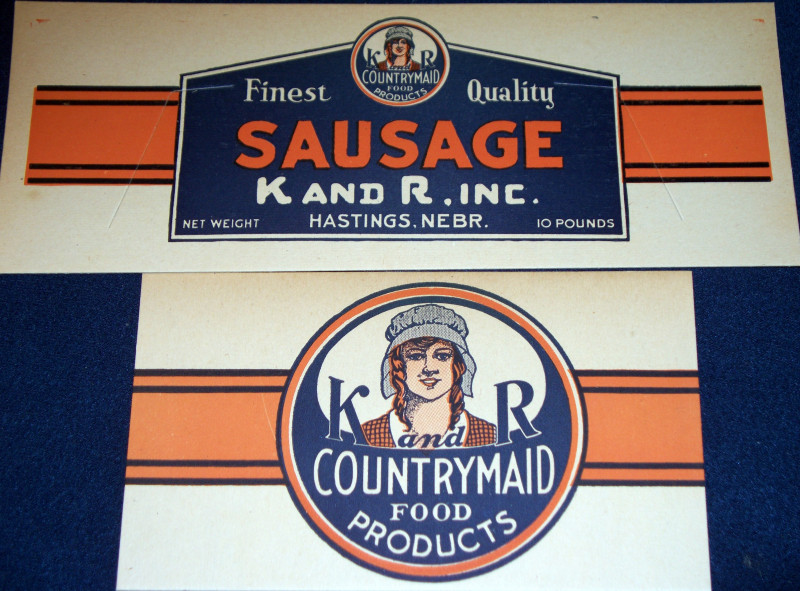 K and R Countrymaid Vintage Ad Sign Set, 1940's