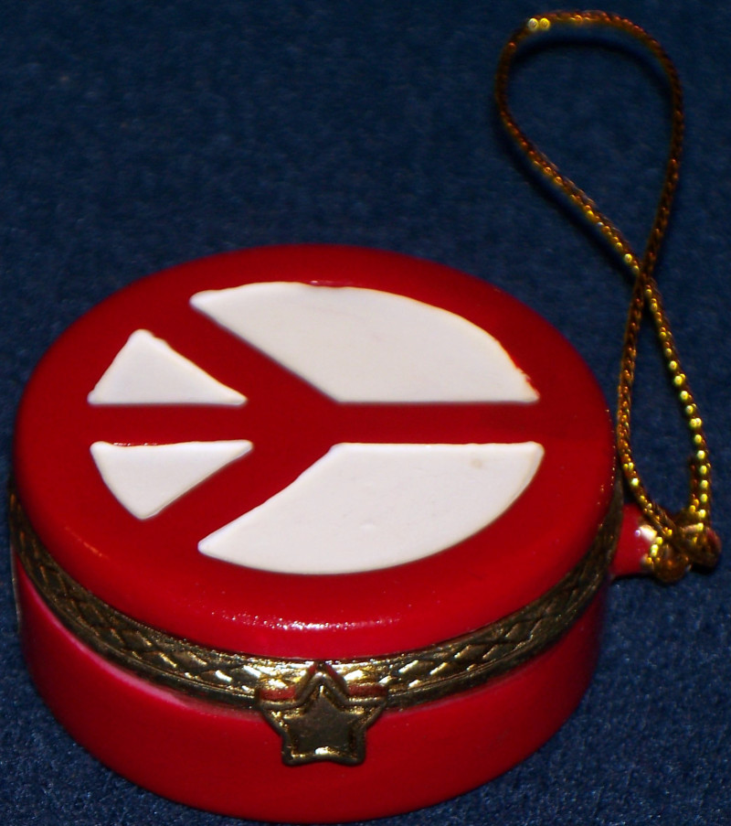 Porcelain Trinket Box or Ornament with Peace Sign