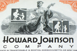 Howard Johnson Co. Stock, Over 100 Shares! 1960's - $4.19