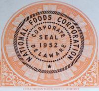 National Foods Corp. Stock, 100 Shares! 1950's