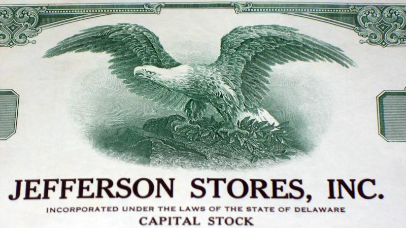 Jefferson store stock certificate 002