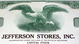 Jefferson Stores Inc. 100 Share! Stock,1960s - $2.99