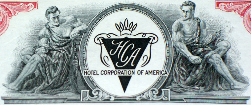 Hotel Corporation of America Stock, 100 Shares! 1950's