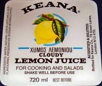 Vintage London! Keana Lemon Juice Label, 1940's 720ml