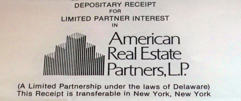 CORP. RAIDER! American Real Estate Partners Stock 80's'
