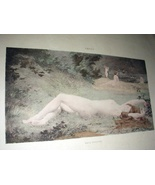 1800sHandcolored Print-THIVET-NUDE Nymphs Laying,Playing Nea - $79.00
