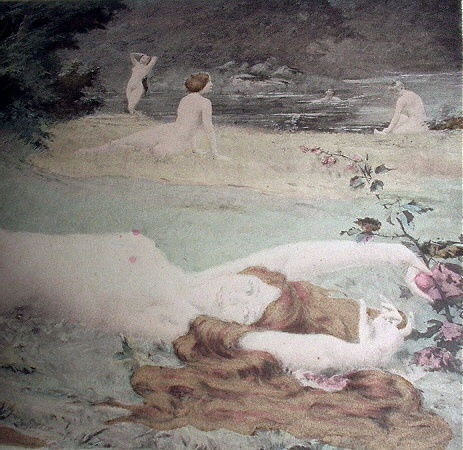 1800sHandcolored Print-THIVET-NUDE Nymphs Laying,Playing Nea
