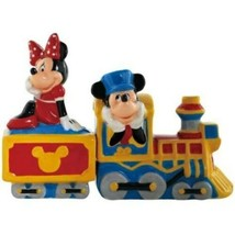 Disney's Mickey & Minnie Mouse Choo Choo Ceramic Salt and Pepper Shakers... - $29.02