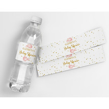Roses and Gold Personalized Baby Shower Water Bottle Labels  - $21.78
