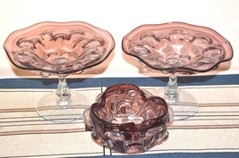 Vintage Amethyst Purple Hand Blown Studio Art Glass Pair of Compotes & Bowl - $149.99
