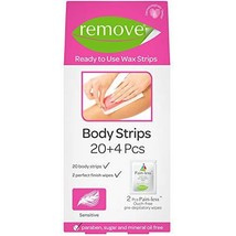 Hair Removal Wax Strips for Body, Face, Bikini, or Underarm by Remove, 20+4 Waxi