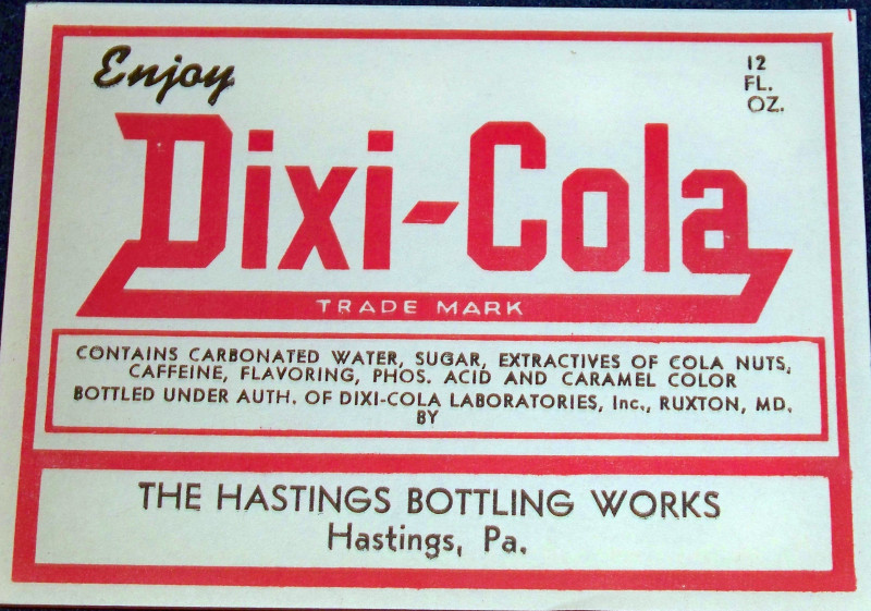 Vintage Dixi-Cola Label, 1950's