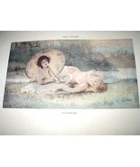 PAUL TILLIER-Antique HandColored Print-Two Nude Nymph Women  - $85.00