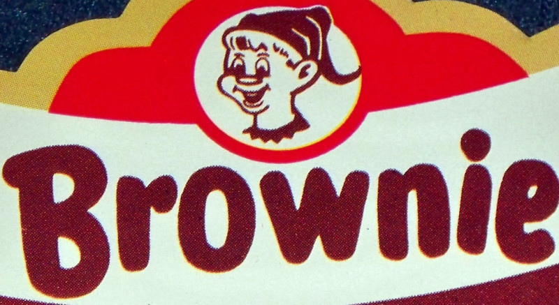 Palmer Cox! Brownie Root Beer Neck Label, 1960's