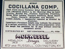 Morphine Label, Cocillana Syrup Compound,1930's - $1.99