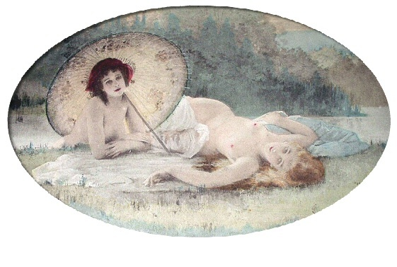 PAUL TILLIER-Antique HandColored Print-Two Nude Nymph Women