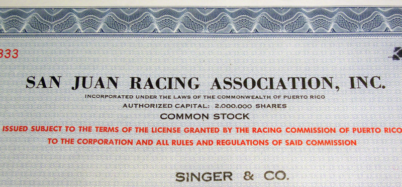 Only the Pure! San Juan Racing Stock Certificate, 1960s