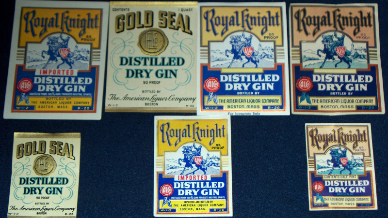 ATTENTION GIN LOVERS!! 7 BOSTON ALCo Labels 1930-40s