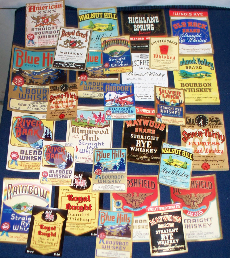 ATTENTION WHISKEY LOVERS!! 28 ALCo Labels 1930's