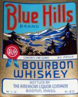 Large Blue Hills Bourbon Whiskey Label, 1 Quart, 1930's