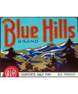 Variant 1, Blue Hills Bourbon Whiskey Label, 1/2 pint - $0.99