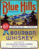 Variant 1, Blue Hills Bourbon Whiskey Label, 1/2 pint