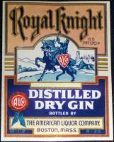 Royal Knight Distilled Dry Gin Label, Pint, 1930's
