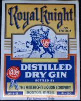 Intrastate Royal Knight Gin Label, 1930's