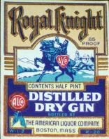 Royal Knight Dry Gin Label, 1/2 Pint, 1930's