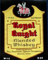 Royal Knight Blended Whiskey Label, 1 Pint, 1930's