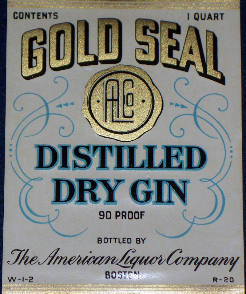 Go for Gold! Gold Seal Gin Label, Quart, 1930's