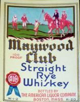 Members Only! Maywood Club Whiskey Qt. Label 1930's