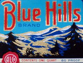 Rare size! Blue Hills Bourbon Whiskey Label 1930's - $1.19
