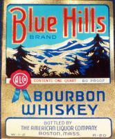 Rare size! Blue Hills Bourbon Whiskey Label 1930's