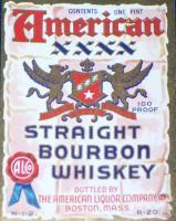 Boston Patriotic! American Bourbon Pt. Label, 1930's