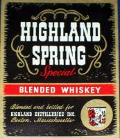 Boston! Highland Spring Blended Whiskey Label, 1930's