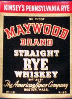 Pennsylvania Rye! Large Maywood Whiskey Label, 1930's