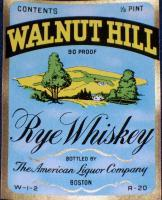 Classy! Walnut Hill Whiskey Label, 1/2 pt, 1930's