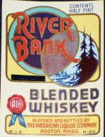 Collectible, River Bank Whiskey 1/2 Pt. Label 1930's